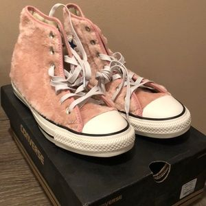 Converse women's 8 fuzzy pink high top sneakers